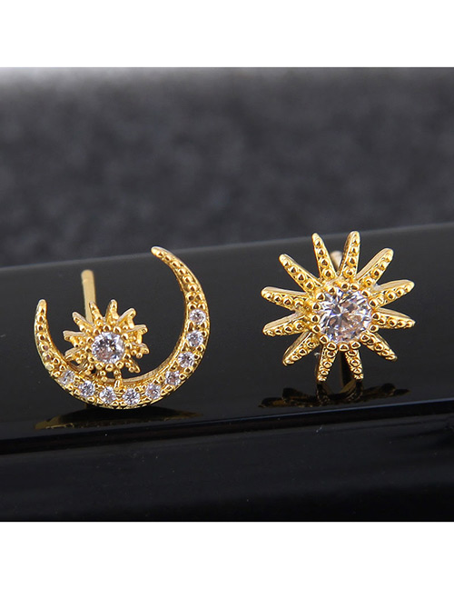 Sweet Gold Color Sunflower&moon Shape Design Asymmetric Earrings