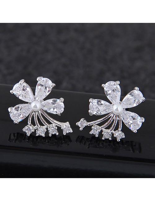 Sweet Silver Color Diamond Decorated Flower Shape Earrings
