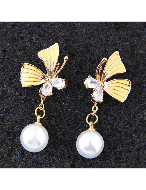 Sweet Yellow Butterfly Decorated Long Earrings