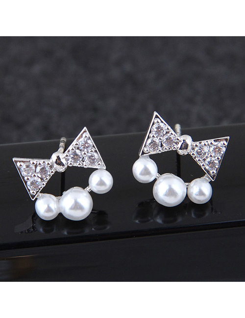 Sweet Silver Color Bowknot&pearls Decorated Earrings