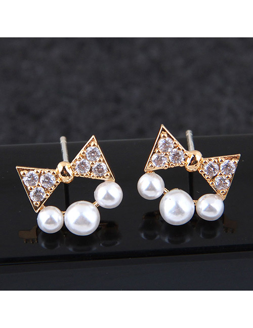 Sweet Gold Color Bowknot&pearls Decorated Earrings