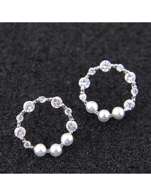 Sweet Silver Color Pearls&diamond Decorated Pure Color Earrings