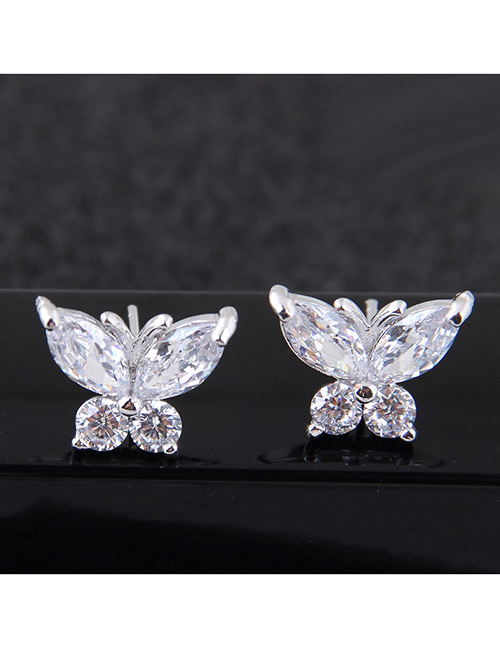 Sweet Silver Color Butterfly Shape Design Pure Color Earrings