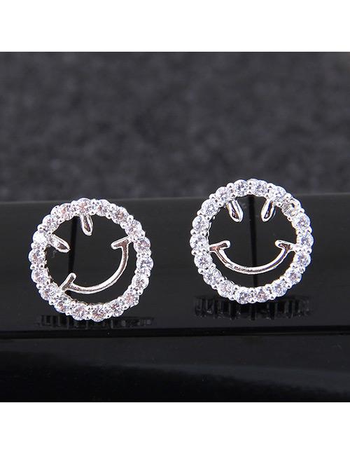 Sweet Silver Color Smiling Face Shape Design Earrings