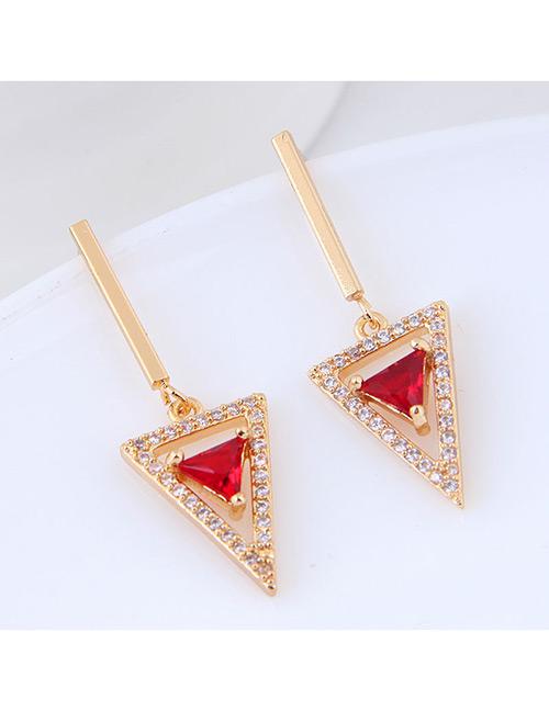 Sweet Gold Color Triangle Shape Design Long Earrings