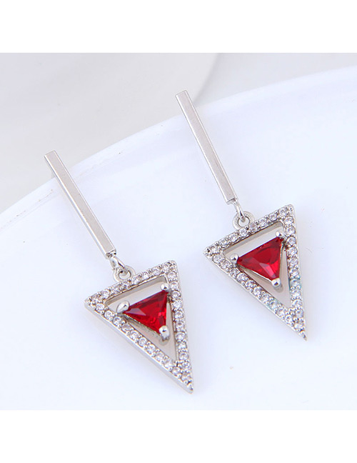 Sweet Silver Color Triangle Shape Design Long Earrings