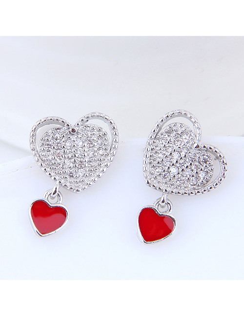 Sweet Silver Color Double Heart Shape Design Earrings