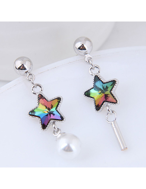 Sweet Silver Color Pearls Decorated Asymmetric Earrings