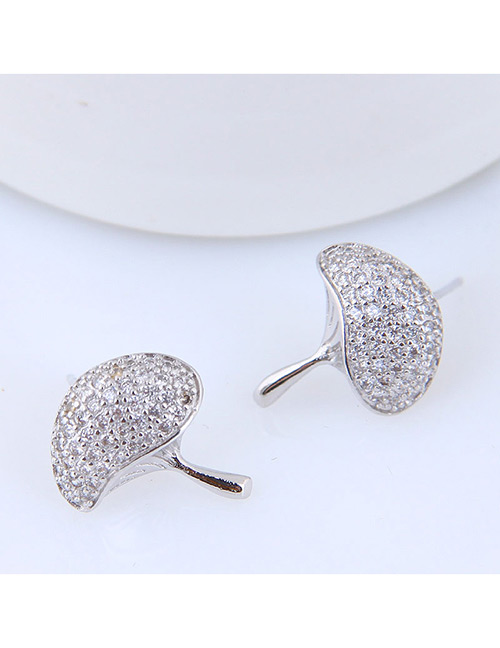 Sweet Silver Color Mushroom Shape Design Pure Color Earrings