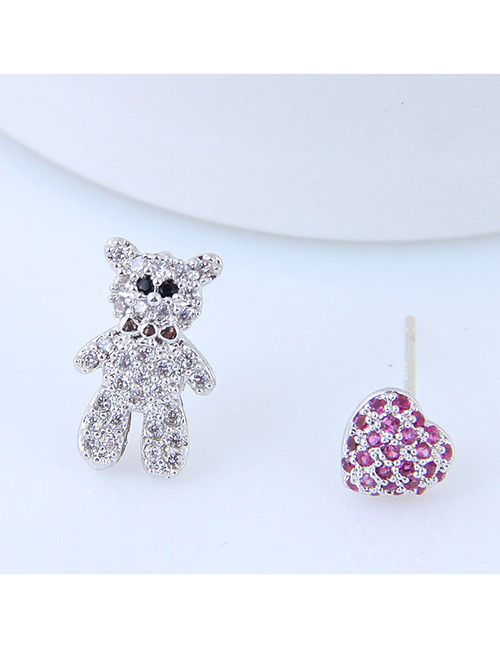 Sweet Silver Color+purple Bear Shape Design Asymmetric Earrings