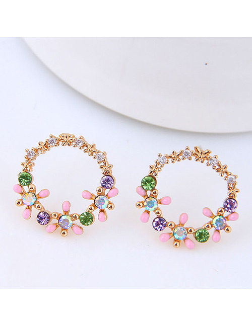 Sweet Gold Color Flowers Decorated Round Shape Earrings
