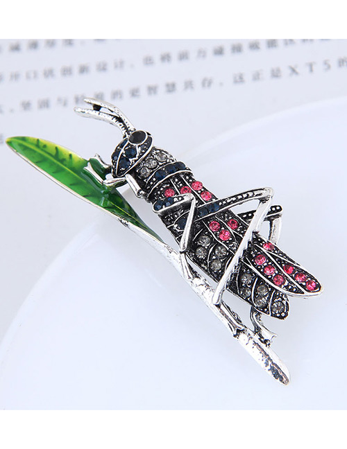 Elegant Silver Color Full Diamond Design Insect Shape Brooch