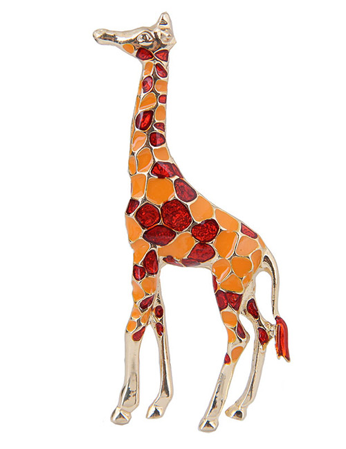 Elegant Red+orange Giraffe Shape Design Color Mathcing Brooch