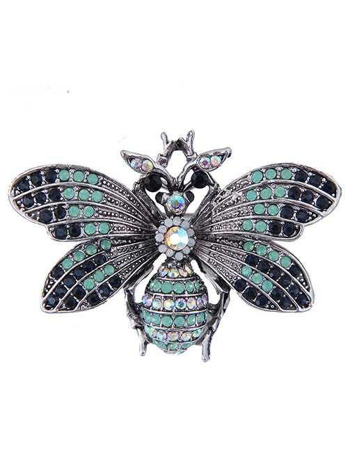 Elegant Pale Blue Full Diamond Design Butterfly Shape Brooch