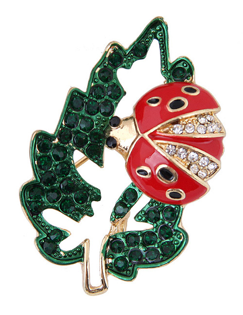Elegant Red+green Leaf&ladybug Shape Design Brooch
