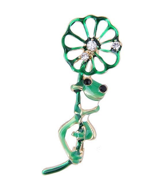 Elegant Green Frogs&lotus Leaf Shape Design Brooch