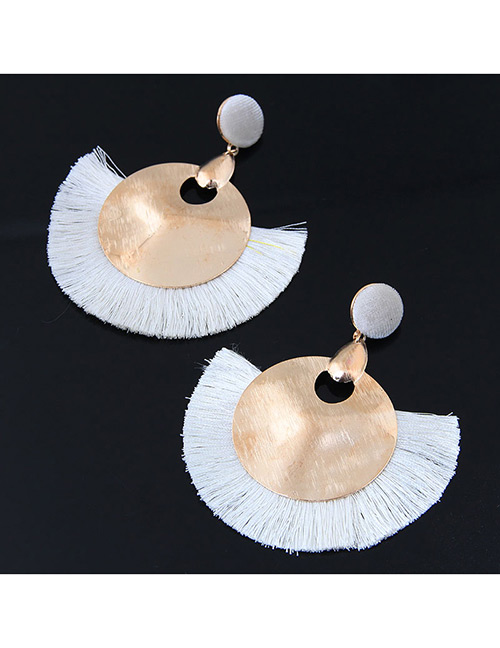 Fashion Gold Color+white Round Shape Decorated Tassel Earrings
