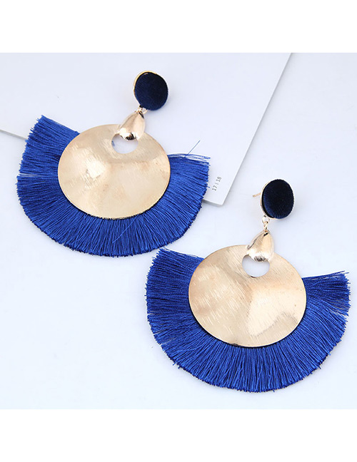 Fashion Gold Color+blue Round Shape Decorated Tassel Earrings