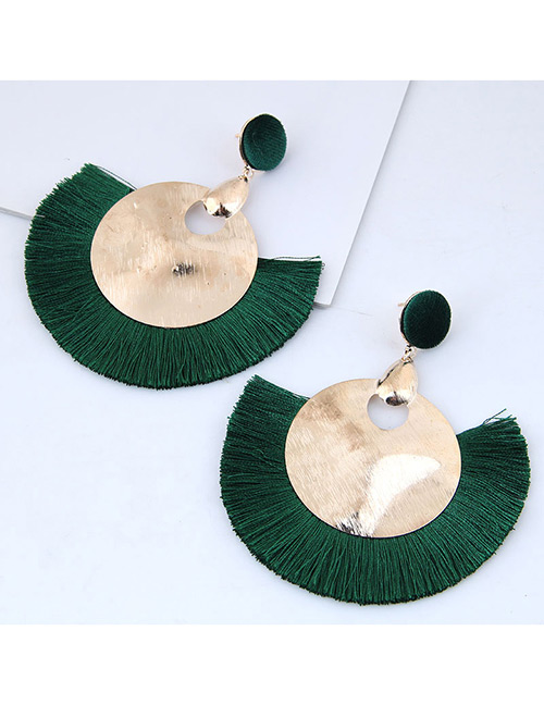 Fashion Gold Color+green Round Shape Decorated Tassel Earrings