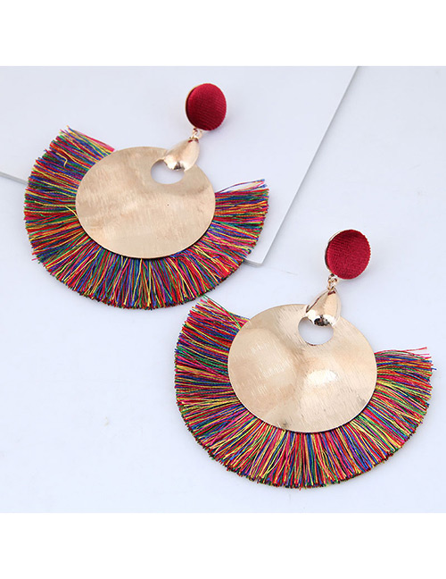 Fashion Gold Color+multi-color Round Shape Decorated Tassel Earrings