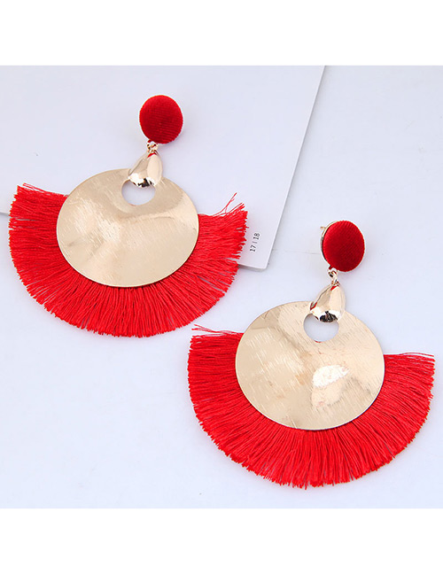 Fashion Gold Color+red Round Shape Decorated Tassel Earrings