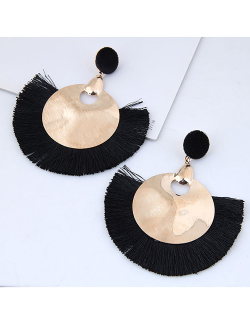 Fashion Gold Color+black Round Shape Decorated Tassel Earrings