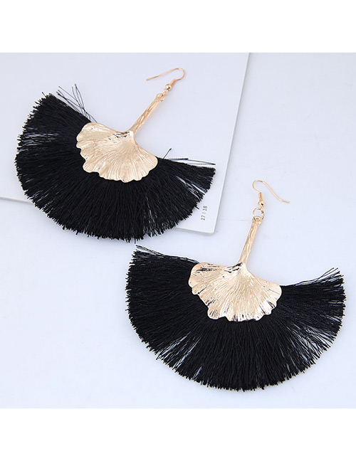 Fashion Gold Color+black Leaf Shape Decorated Tassel Earrings