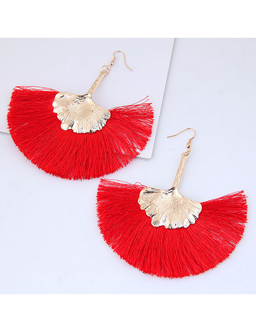 Fashion Gold Color+red Leaf Shape Decorated Tassel Earrings