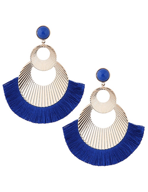 Fashion Gold Color+blue Hollow Out Design Tassel Earrings