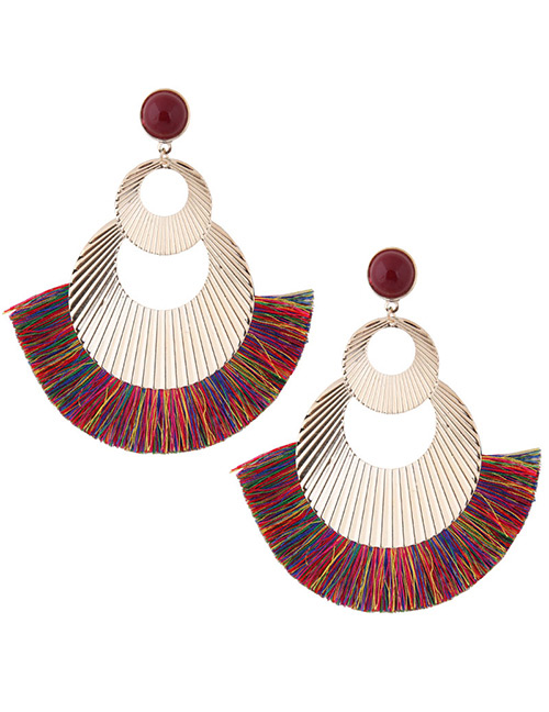 Fashion Gold Color+multi-color Hollow Out Design Tassel Earrings