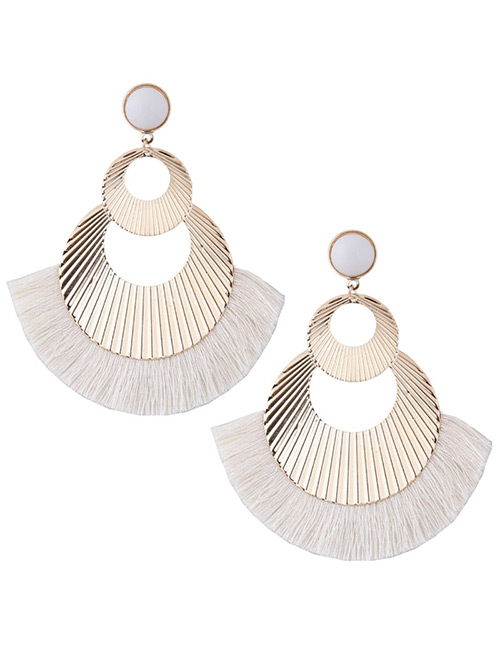 Fashion Gold Color+white Hollow Out Design Tassel Earrings