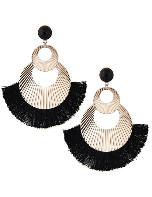 Fashion Gold Color+black Hollow Out Design Tassel Earrings