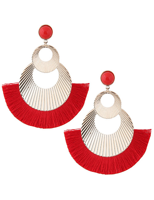 Fashion Gold Color+red Hollow Out Design Tassel Earrings