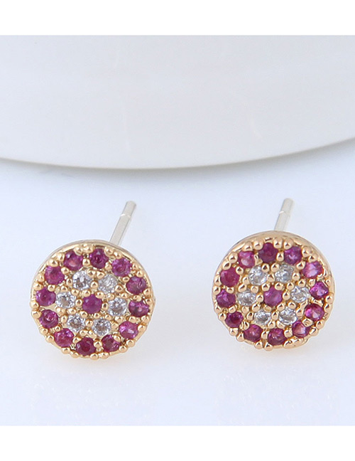Fashion Gold Color+purple Full Diamond Decorated Round Earrings