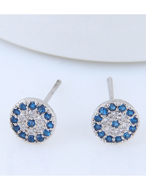 Fashion Silver Color+blue Full Diamond Decorated Round Earrings