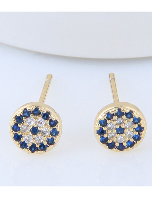 Fashion Gold Color+blue Full Diamond Decorated Round Earrings