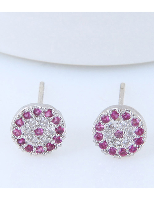 Fashion Silver Color+purple Full Diamond Decorated Round Earrings