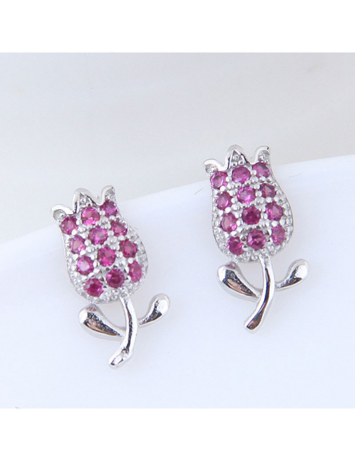 Fashion Silver Color+purple Tulip Shape Decorated Earrings