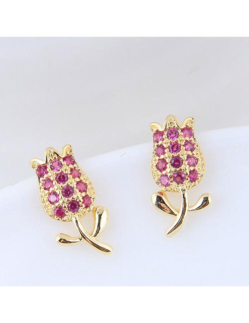 Fashion Gold Color+purple Tulip Shape Decorated Earrings