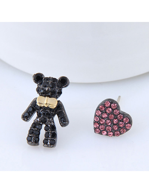 Fashion Black Bear Shape Decorated Earrings