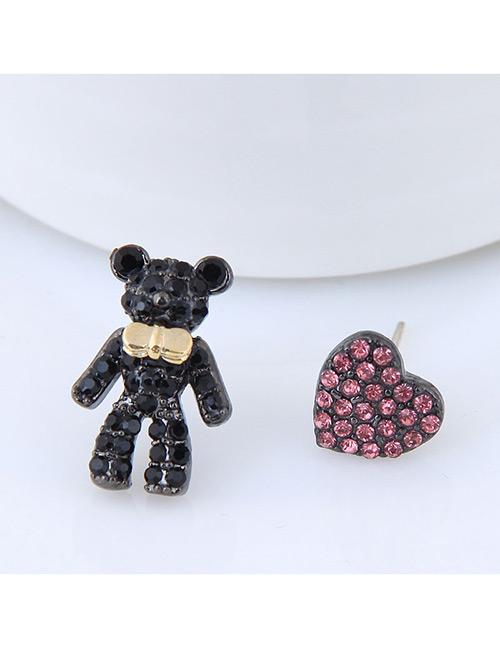 Fashion Black Bear Shape Decorated Earrings