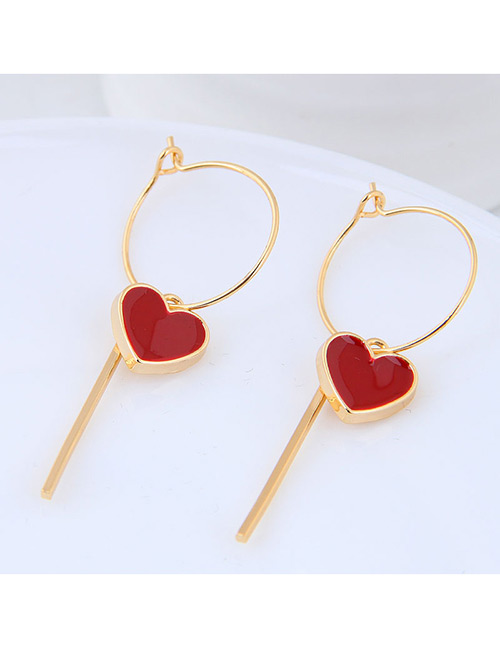 Fashion Gold Color+red Heart Shape Decorated Earrings