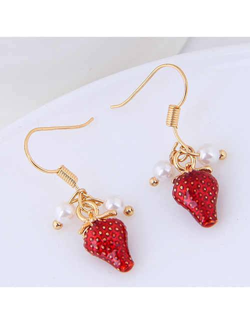 Fashion Gold Color+red Strawberry Shape Decorated Earrings