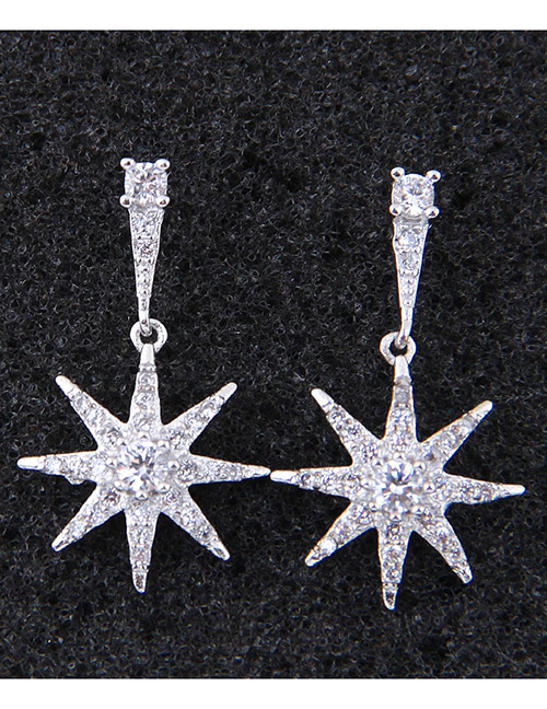Fashion White Star Shape Decorated Earrings