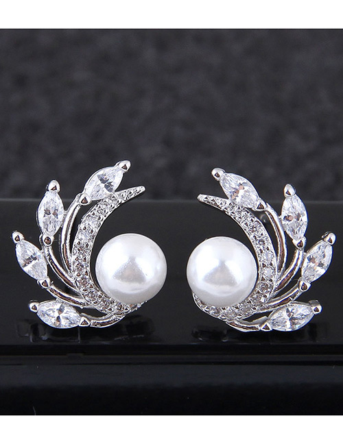 Fashion White Full Diamond Decorated Earrings