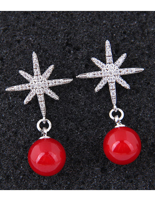 Fashion Red Star Shape Decorated Earrings