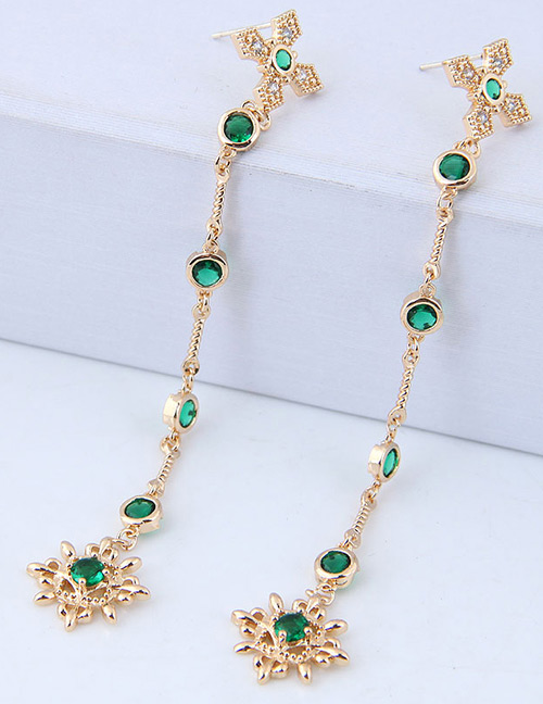 Fashion Gold Color+green Flower Shape Decorated Tassel Earrings