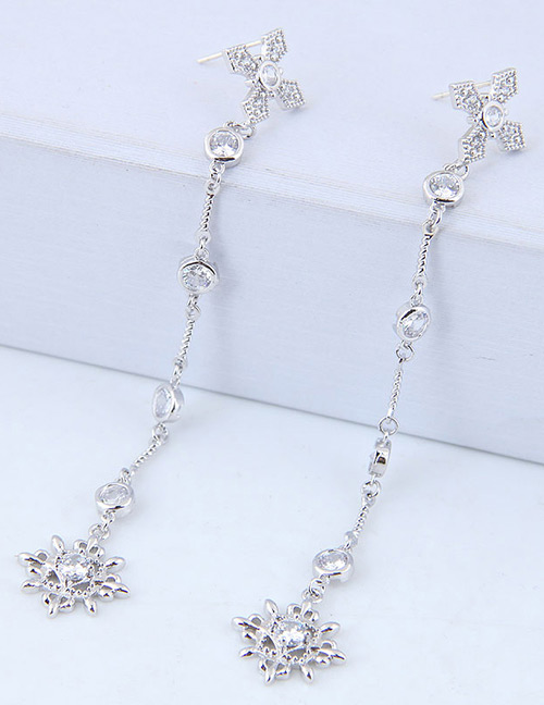 Fashion Silver Color Flower Shape Decorated Tassel Earrings