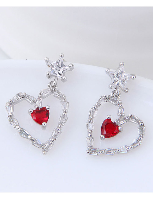Fashion Silver Color+red Heart Shape Decorated Earrings