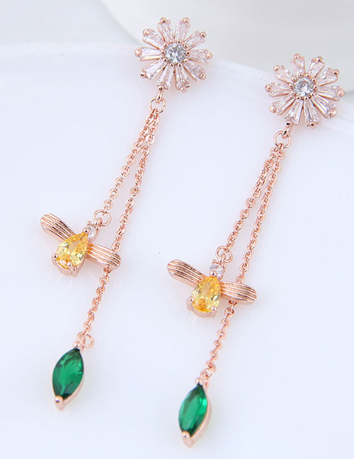 Fashion Rose Gold Bee Shape Decorated Tassel Earrings